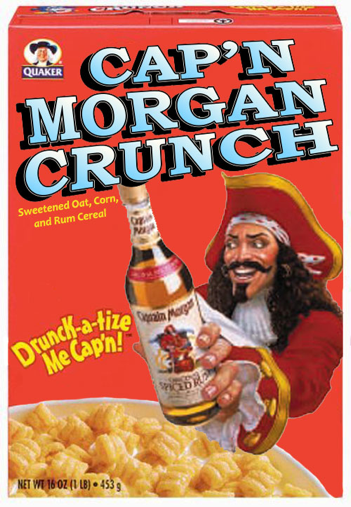 A bowl of Cap'n Morgan Crunch with a tumbler of Rum and milk is part of a